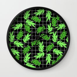 Leif - pattern grid minimal leaf repeating pattern hipster minimal iphone6 case for gender neutral  Wall Clock
