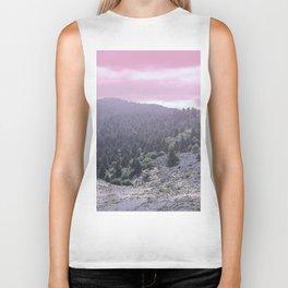 Pink Sunset on Mountains Biker Tank