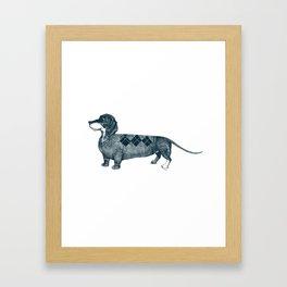 Dachshund wearing argyle sweater Framed Art Print