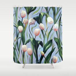 Waiting on the Blooming - a Tulip Pattern Shower Curtain