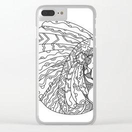 American Plains Indian with War Bonnet Doodle Clear iPhone Case