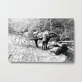 Vintage Adirondacks: The Roadside Watering Trough Metal Print