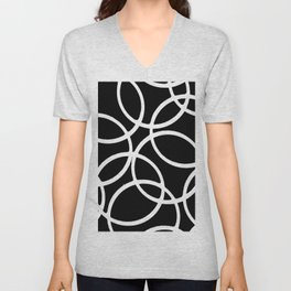 Interlocking White Circles Artistic Design Unisex V-Neck