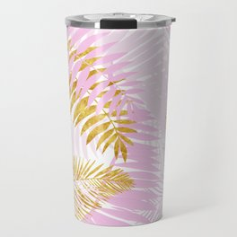 Aloha- Pink Tropical Palm Leaves and Gold Metal Foil Leaf Garden Travel Mug