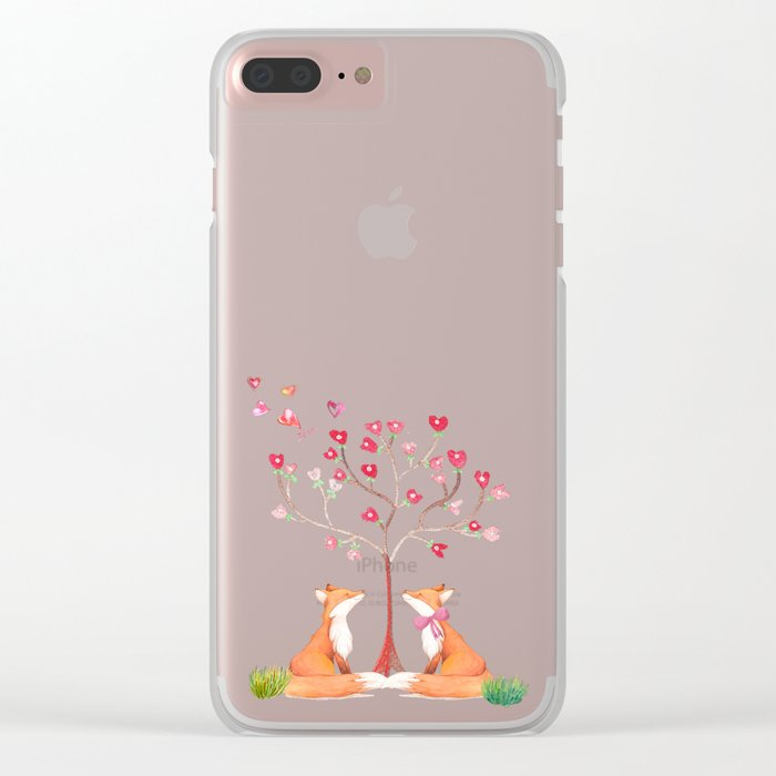 Fox love- foxes animal nature _ Watercolor illustration Clear iPhone Case
