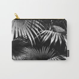 Tropical Botanic Jungle Garden Palm Leaf Black White Carry-All Pouch