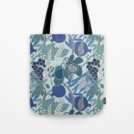 Seven Species Botanical Fruit and Grain in Blue Tones Tote Bag