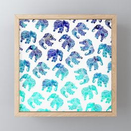 Boho turquoise blue ombre watercolor hand drawn mandala elephants pattern Framed Mini Art Print