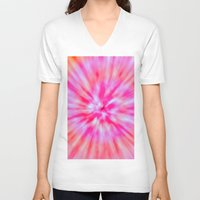 tie dye V-neck T-shirts featuring TIE DYE by Nika