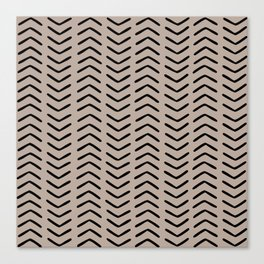 Boho Arrows Mudcloth Pattern, Beige and Black Canvas Print