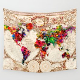Antique and POP Art Map Wall Tapestry