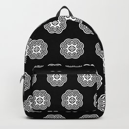 Black and white Hmong elephant Backpack