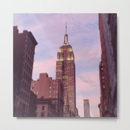 Empire State Building Sunset Pink Purple Metal Print