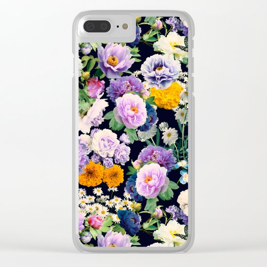 Seamless Nature Flowers Pattern Clear iPhone Case
