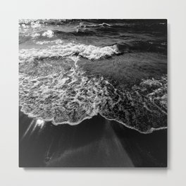 Shoreline Black and White Photography Beach and Sun rays Metal Print