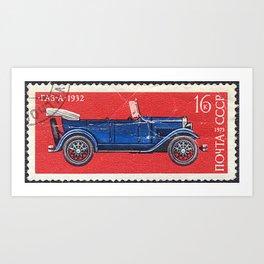 Postage stamp printed in Soviet Union shows vintage car Art Print