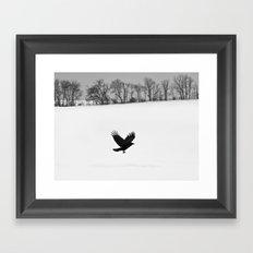 Blackbird on White Landscape Framed Art Print
