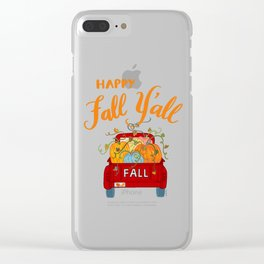 Happy Fall Y'all Vintage Pumpkin Truck Hand Lettered Hand Drawn Clear iPhone Case