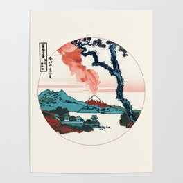 Hokusai View Of Mount Fuji With Eruption Minimalist Poster