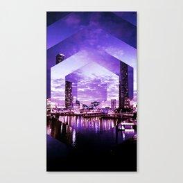 Gorgeous Purple Geometric Brisbane City Riverscape Canvas Print