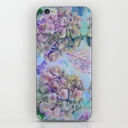 Watercolor hydrangeas and leaves iPhone Skin