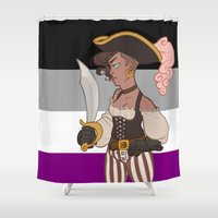 asexual Shower Curtains featuring Ace Pirate #2 by kitkatkatee