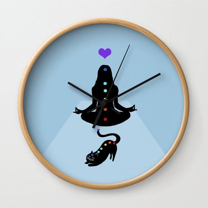 Yoga lady cat Wall Clock