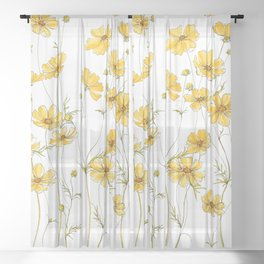 Yellow Cosmos Flowers Sheer Curtain