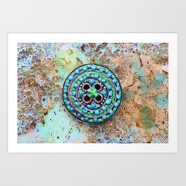 Button for happiness Art Print