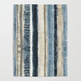 Distressed Blue and White Watercolor Stripe Poster