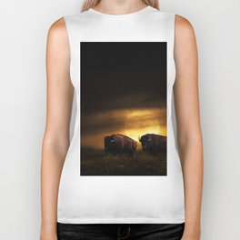 Two American Buffalo Bison with Moon Rise Biker Tank