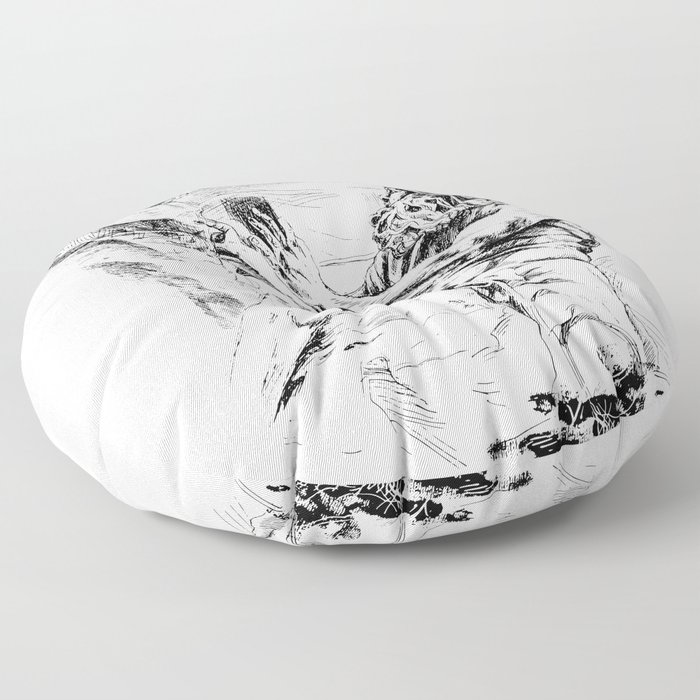 Neptune Sculpture from piazza Navona Roma Floor Pillow