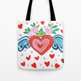 Valentine Heart with Wings Tote Bag