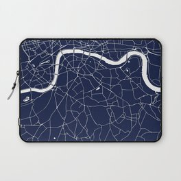 Navy on White London Street Map Laptop Sleeve