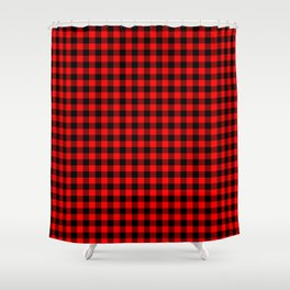 Classic Red Country Cottage Summer Buffalo Plaid Shower Curtain