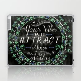 'Your Vibe Will Attract Your Tribe' Quote Mandala Marble Black Laptop & iPad Skin