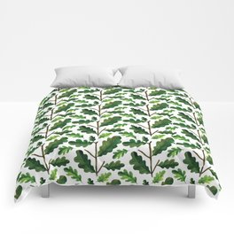 Modern hand painted forest green watercolor oak leaves Comforters