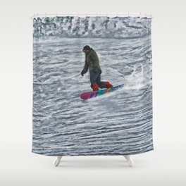 Cutting Corners - Winter Snow-boarder Shower Curtain
