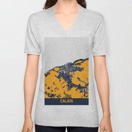 Calais - France Bluefresh City Map Unisex V-Neck