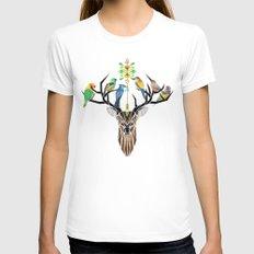 deer birds MEDIUM Womens Fitted Tee White