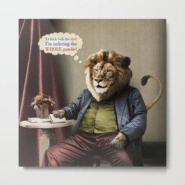 Hungry Lion Metal Print