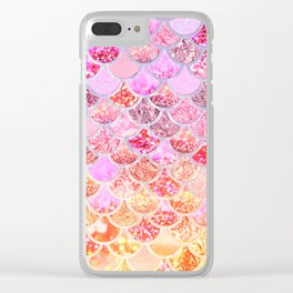 Rosegold & Gold Trendy Glitter Mermaid Scales Clear iPhone Case