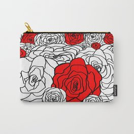 White & Red Rose Bush Carry-All Pouch