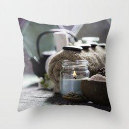 Asian tea set and spa settings Throw Pillow