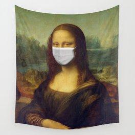 Mona Lisa with Respirator Mask Wall Tapestry