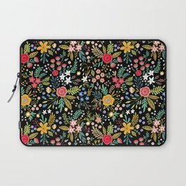 Amazing floral pattern with bright colorful flowers, plants, branches and berries on a black backgro Laptop Sleeve