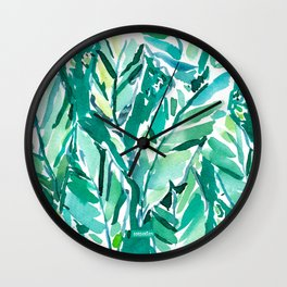 BANANA LEAF JUNGLE Green Tropical Wall Clock