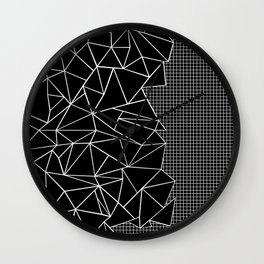 Abstract Grid Outline White on Black on Side Wall Clock