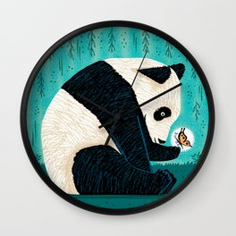 The Panda and The Butterfly - turquoise version Wall Clock