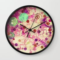 bubblegum Wall Clocks featuring Bubblegum by SensualPatterns